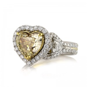 4.60ct Fancy Light Yellow Heart Shaped Diamond Three-Stone Ring | Mark Broumand