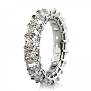 7.25ct Radiant Cut Diamond Eternity Band Side View | Mark Broumand