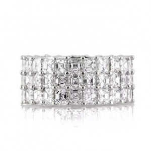 8.12ct Three-Row Asscher Cut Diamond Eternity Band | Mark Broumand