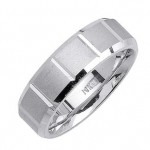 Men's Handmade Segmented Sandblasted Wedding Band in Platinum 7.0mm | Mark Broumand