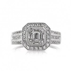1.80ct Halo Emerald Cut Engagement Ring | Mark Broumand