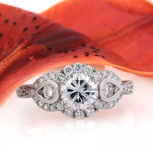 1.97ct Vintage Style Round Brilliant Cut Diamond Anniversary Ring