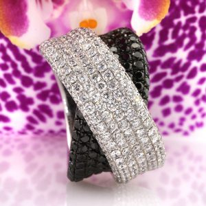 3.85ct White and Black Round Diamond Ring Masterpiece | Mark Broumand