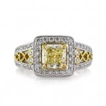 2.27ct Fancy Light Yellow Radiant Cut Diamond Engagement Ring