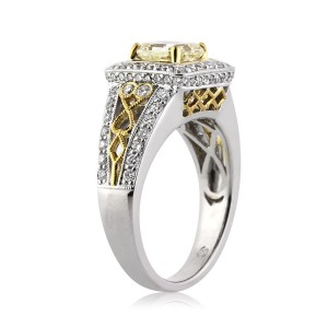 2.27ct Fancy Light Yellow Radiant Cut Diamond Engagement Ring side view