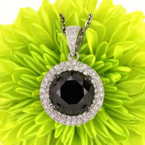 3.38ct Fancy Black Round Rose Cut Diamond Pendant