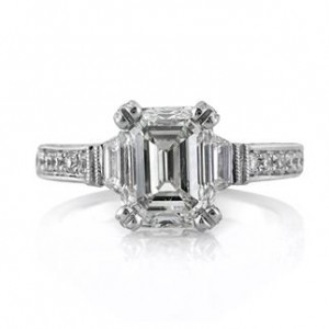4.05ct Three Stone Emerald Cut Engagement Ring | Mark Broumand