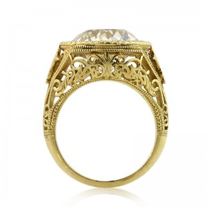 7.65ct Antique European Round Cut Diamond Engagement Ring Side View | Mark Broumand