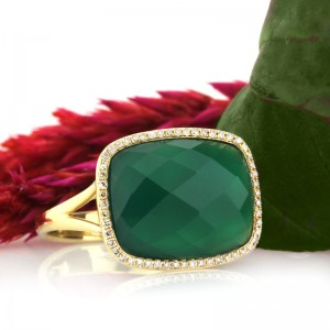 8.52ct Rose Cut Cushion Green Agate and Diamond Right-Hand Fashion Ring