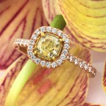 1.56 Fancy Yellow Halo Diamond Engagement Ring | Mark Broumand