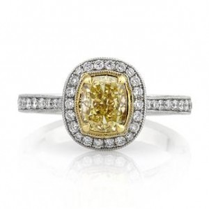 Halo Fancy Yellow Cushion Cut Diamond Engagement Ring | Mark Broumand