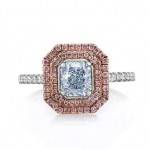 Fancy Light Blue and Pink Diamond Halo Engagement Ring