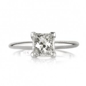 Straight Solitaire Princess Cut Diamond engagement ring | Mark Broumand