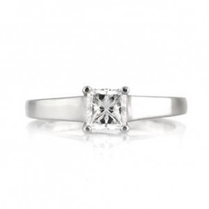 Tapered Solitaire Princess Cut Diamond Engagement Ring | Mark Broumand