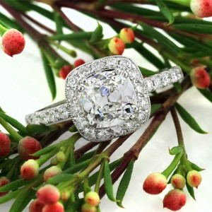 1.92ct Antique Cushion Brilliant Diamond Engagement Ring | Mark Broumand
