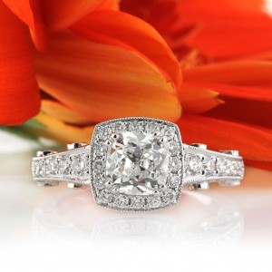 2.13ct Antique Cushion Brilliant Diamond Engagement Ring | Mark Broumand