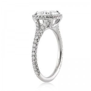 2.20ct Antique Cushion Cut Diamond Engagement Ring Side View | Mark Broumand