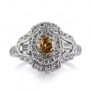 2.23ct Fancy Brownish Yellow Oval Cut Diamond Engagement Ring | Mark Broumand