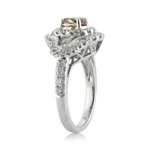 2.23ct Fancy Brownish Yellow Oval Cut Diamond Engagement Ring Side View | Mark Broumand