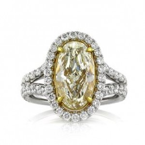 4.37ct Fancy Light Orangy Yellow Oval Cut Diamond Engagement Ring | Mark Broumand
