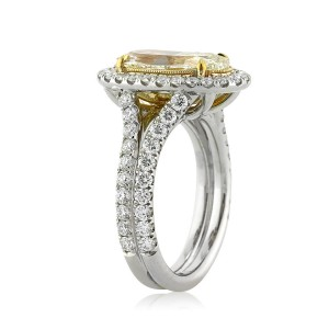 4.37ct Fancy Light Orangy Yellow Oval Cut Diamond Engagement Ring Side View | Mark Broumand