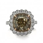7.11ct Fancy Yellowish Brown Cushion Cut Diamond Engagement Ring | Mark Broumand