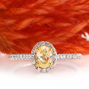 0.76ct Fancy Yellow Oval Cut Diamond Engagement Ring | Mark Broumand