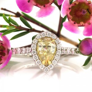 1.09ct Fancy Yellow Pear Shaped Diamond Engagement Ring | Mark Broumand