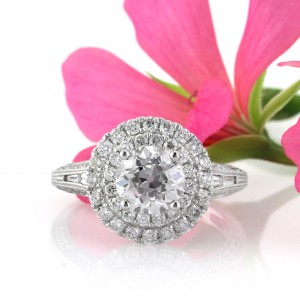 2.57ct Old European Round Cut Diamond Halo Engagement Ring | Mark Broumand
