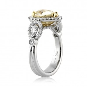 Halo engagement rings side view