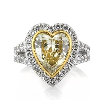 4.50ct Fancy Yellow Heart Shaped Diamond Engagement Ring | Mark Broumand