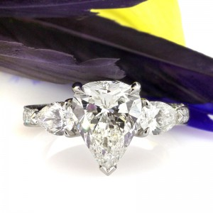 The Teardrop Cut - Three Stone Pear Shaped Engagement Ring| Mark Broumand