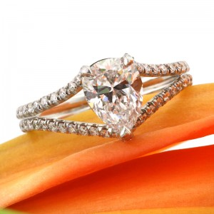 1.98ct Pear Shaped Diamond Engagement Ring Front Angle