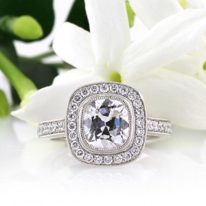 2.43ct Antique Cushion Cut Diamond Engagement Ring | Mark Broumand