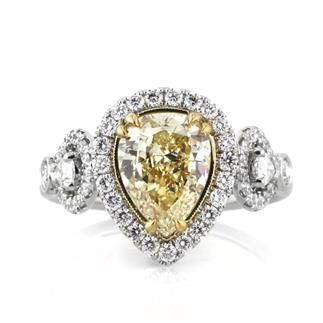 3.08ct Fancy Yellow Pear Engagement Ring Front | Mark Broumand