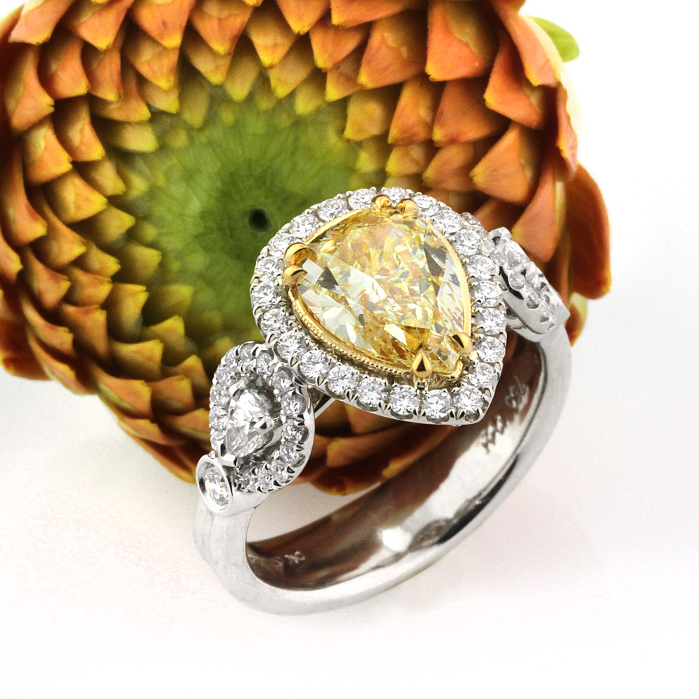 3.08ct Fancy Light Yellow Pear Shaped Diamond Engagement Ring Top Angle | Mark Broumand