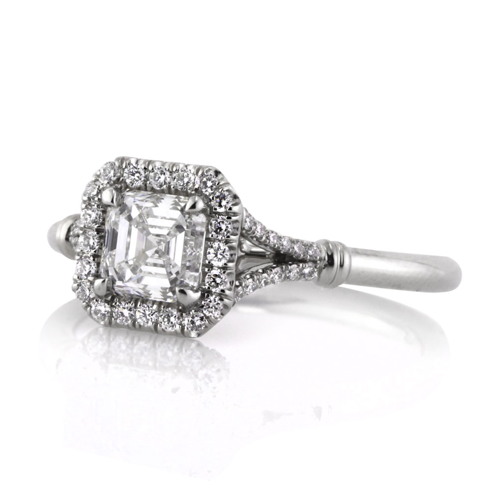 1.16ct Asscher Cut Diamond Engagement Ring Short Side | Mark Broumand