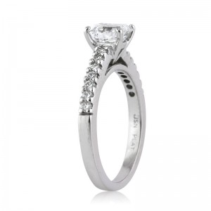 1.26ct Asscher Cut Engagement Ring Solitaire with Side Stones | Mark Broumand
