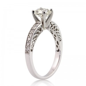 1.44ct Radiant Cut Diamond Engagement Ring Tall Angle | Mark Broumand