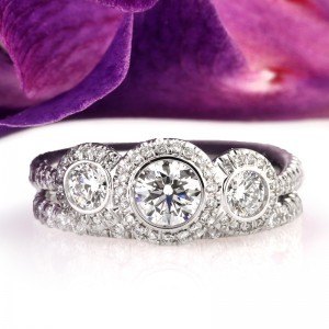 Three Stone Round Brilliant Cut Engagement Rings Under $4000 | Mark Broumand