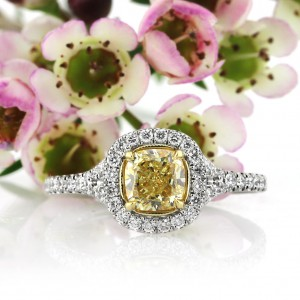 1.57ct Fancy Yellow Cushion Cut Diamond Engagement Ring | Mark Broumand