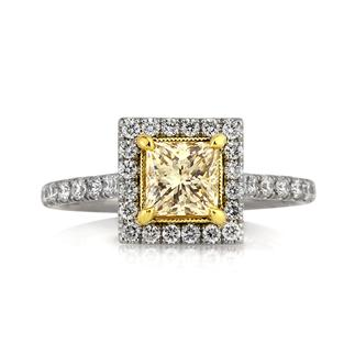 1.67ct Fancy Light Yellow Princess Cut Engagement Ring | Mark Broumand