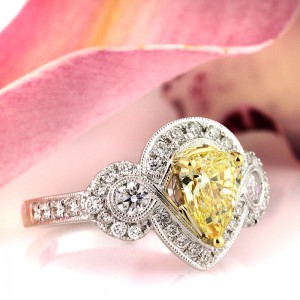 1.81ct Fancy Intense Yellow Pear Shaped Diamond Engagement Ring | Mark Broumand