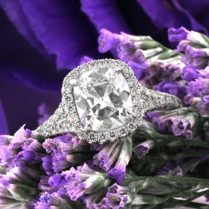 2.20ct Antique Cushion Cut Diamond Engagement Ring | Mark Broumand