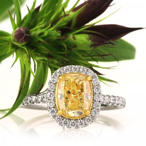 2.31ct Fancy Yellow Cushion Cut Diamond Engagement Ring | Mark Broumand