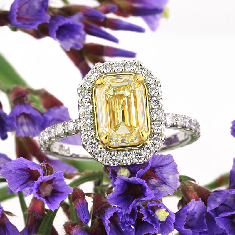 2.37ct fancy yellow emerald cut diamond engagement anniverary ring | Mark Broumand