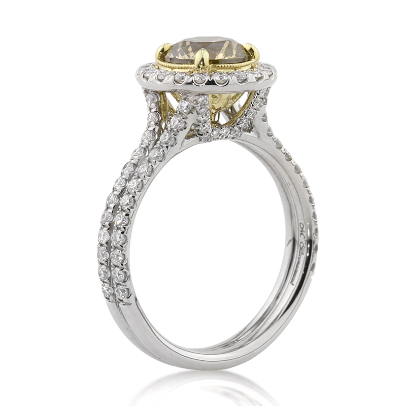 2.49ct Fancy Color Round Brilliant Cut Diamond Engagement Ring Tall Angle | Mark Broumand