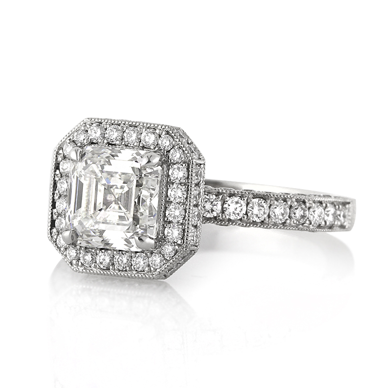 2.93ct Asscher Cut Diamond Engagement Ring Short Side | Mark Broumand