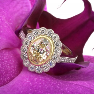 3.09ct Vintage Style Fancy Yellow Oval Cut Engagement Ring | Mark Broumand