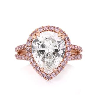 4.37ct Pear Shaped Diamond Engagement Ring | Mark Broumand